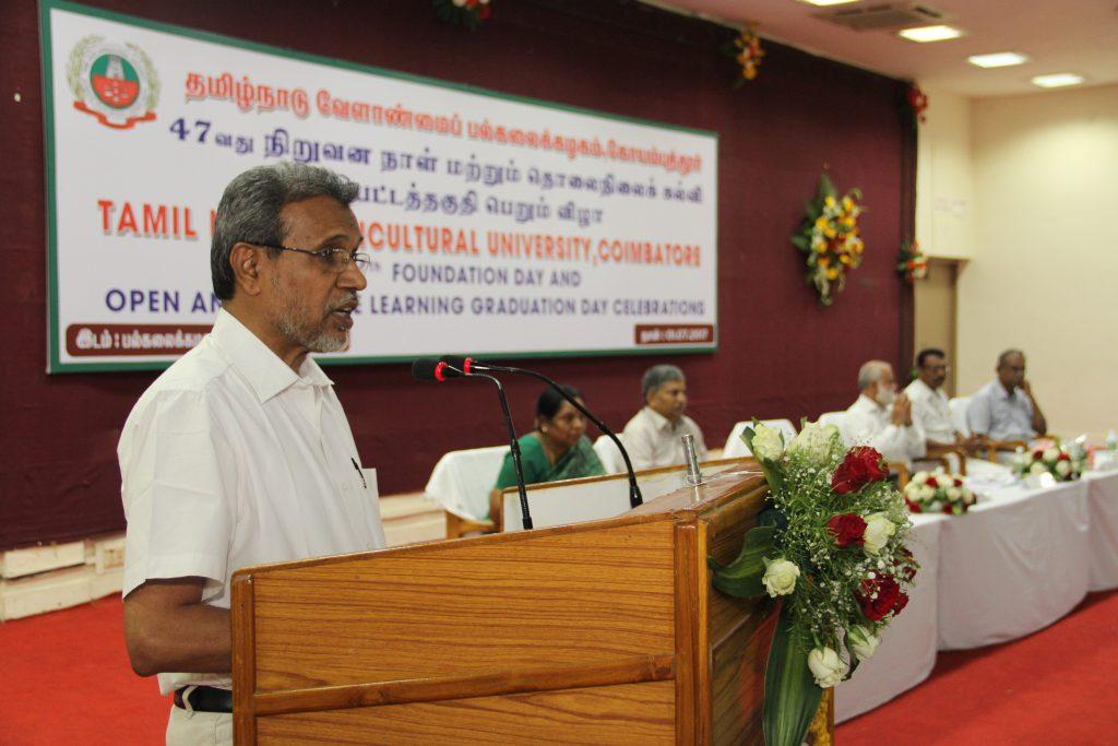 Dr. K. Ramasamy, Vice-Chancellor, TNAU
